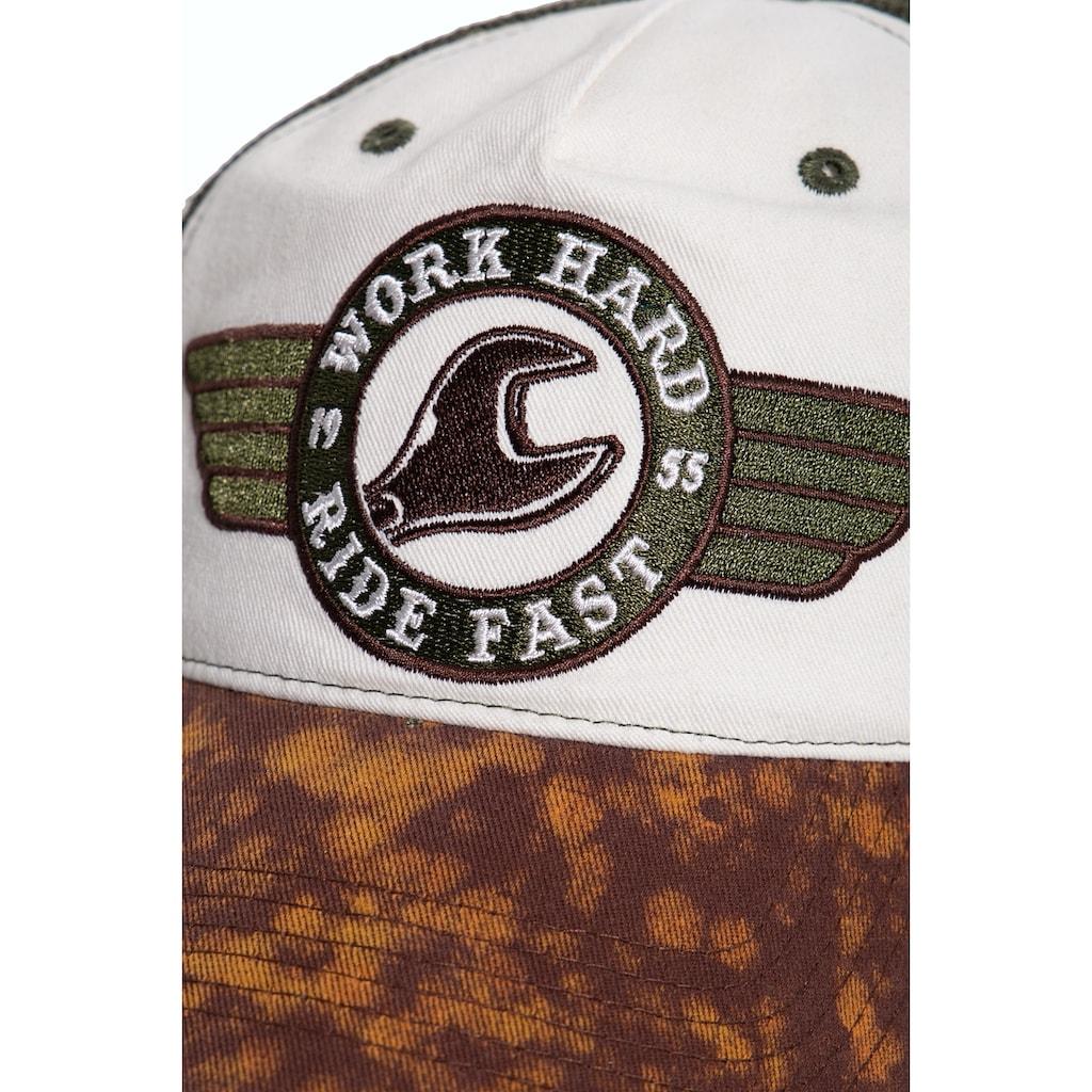 KingKerosin Trucker Cap »Work Hard«, mit Enzymwash und Destroyed-Effekten und Stickerei
