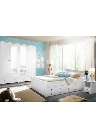 Home affaire Schlafzimmer-Set »Hugo«, (Set, 4 tlg.), Bett 180 cm, 5-trg Kleiderschrank und 2 Nachttische kaufen