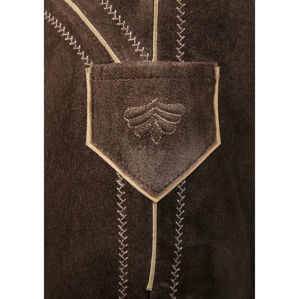 Country Line Trachtenlederhose, (2 tlg., mit Hosenträgern), aus weichem Ziegenveloursleder