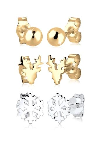Elli Ohrring-Set »2er Set Bi-Color Rentier Schneeflocke Silber« kaufen