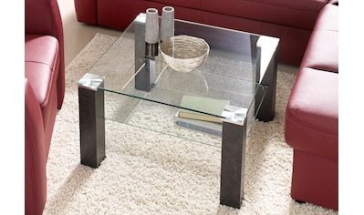 PRO Line Couchtisch, Couchtisch quadratisch mit Glasplatte und Glasboden kaufen