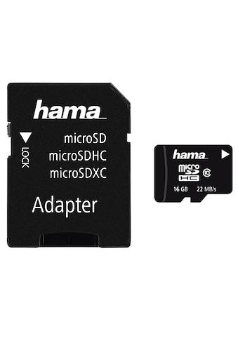 Hama microSDHC 16 GB Class 10, 22MB/s + Adapter/Mobile kaufen