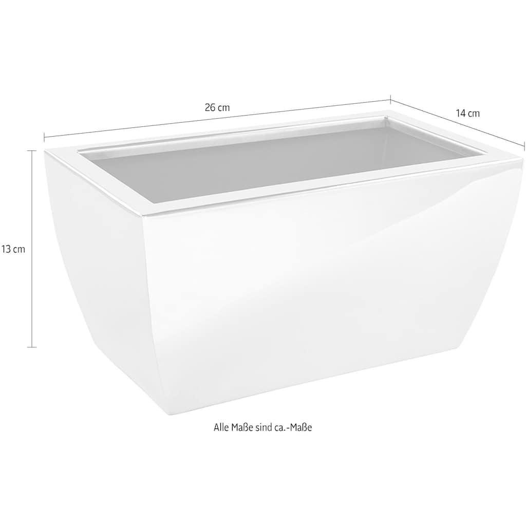 Fink Übertopf »CUBE, silberfarben«, Blumenübertopf, Blumentopf, rechteckig, aus Edelstahl hochwertige Verarbeitung, In- und Outdoor geeignet, Wohnzimmer