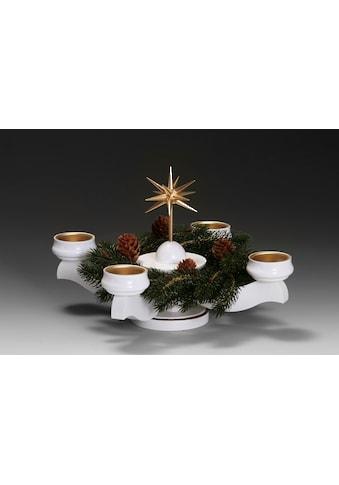 Albin Preissler Adventsleuchter »Weihnachtsstern«, Ø 22 cm, weiß, inkl. Tannenkranz kaufen