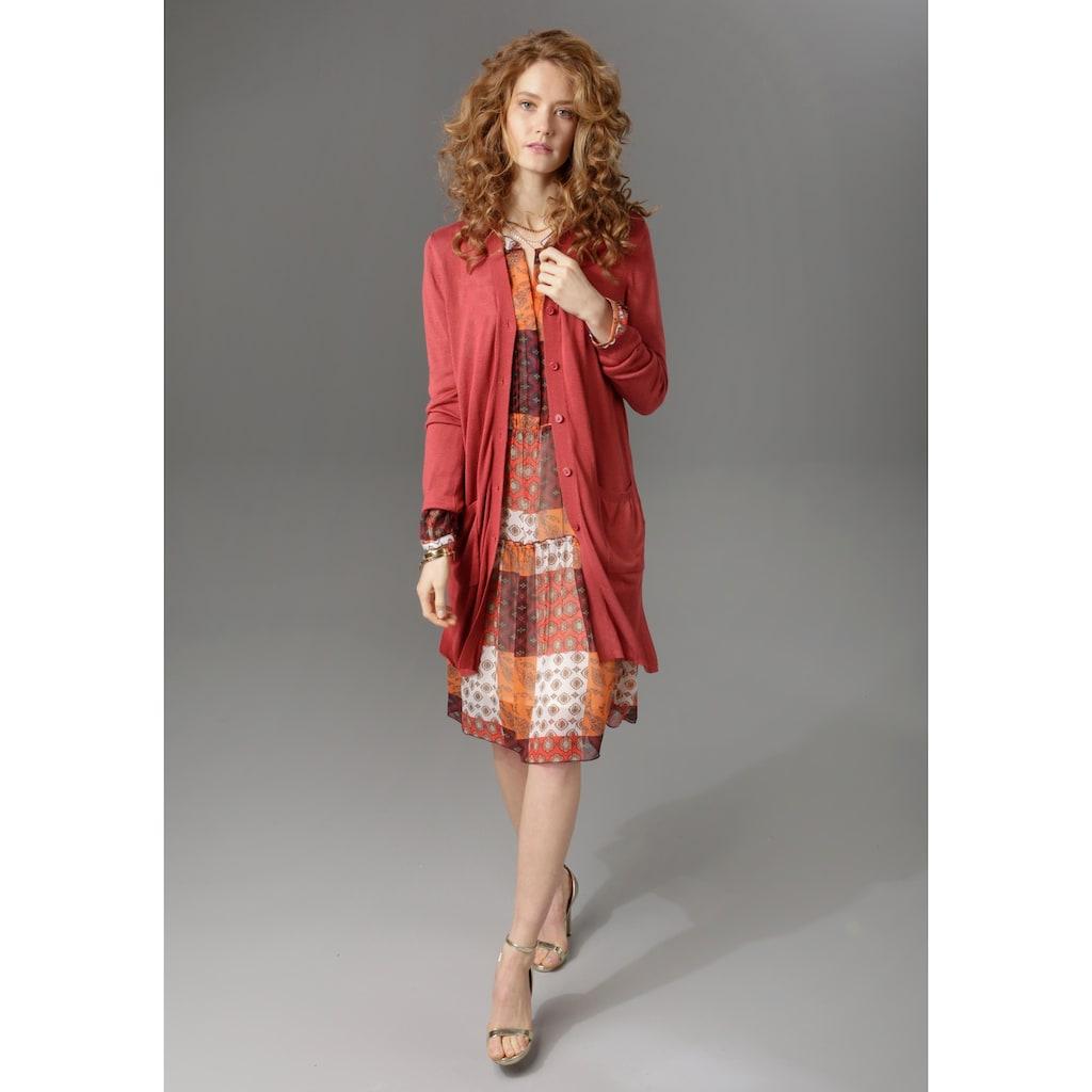 Aniston CASUAL Strickjacke, in Longform mit Seitenschlitzen