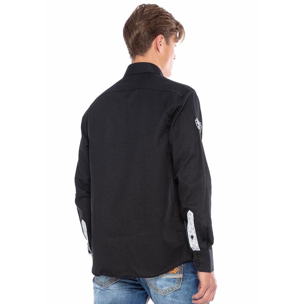Cipo & Baxx Langarmhemd, mit Applikationen und Stickereien