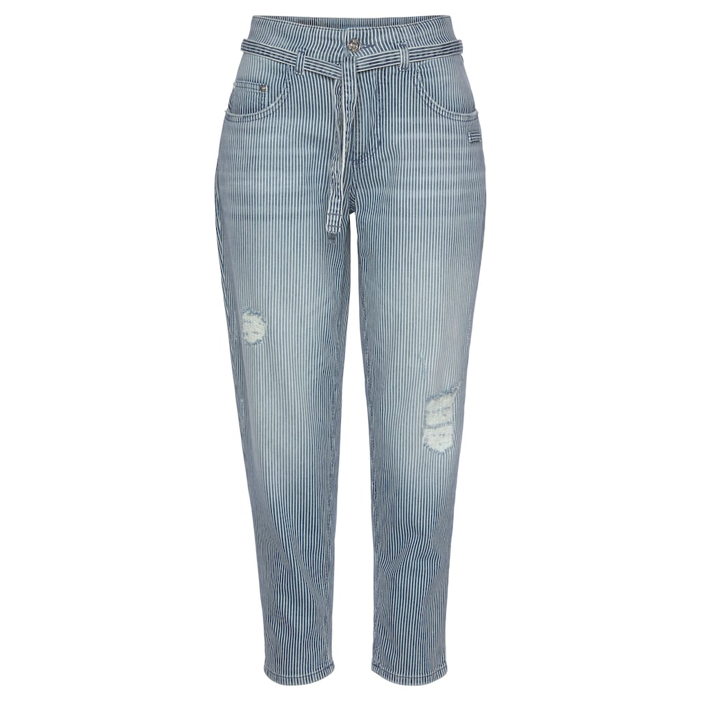 MAC Ankle-Jeans »Mina Stripe«, Mit unterlegten Destroyed-Effekten