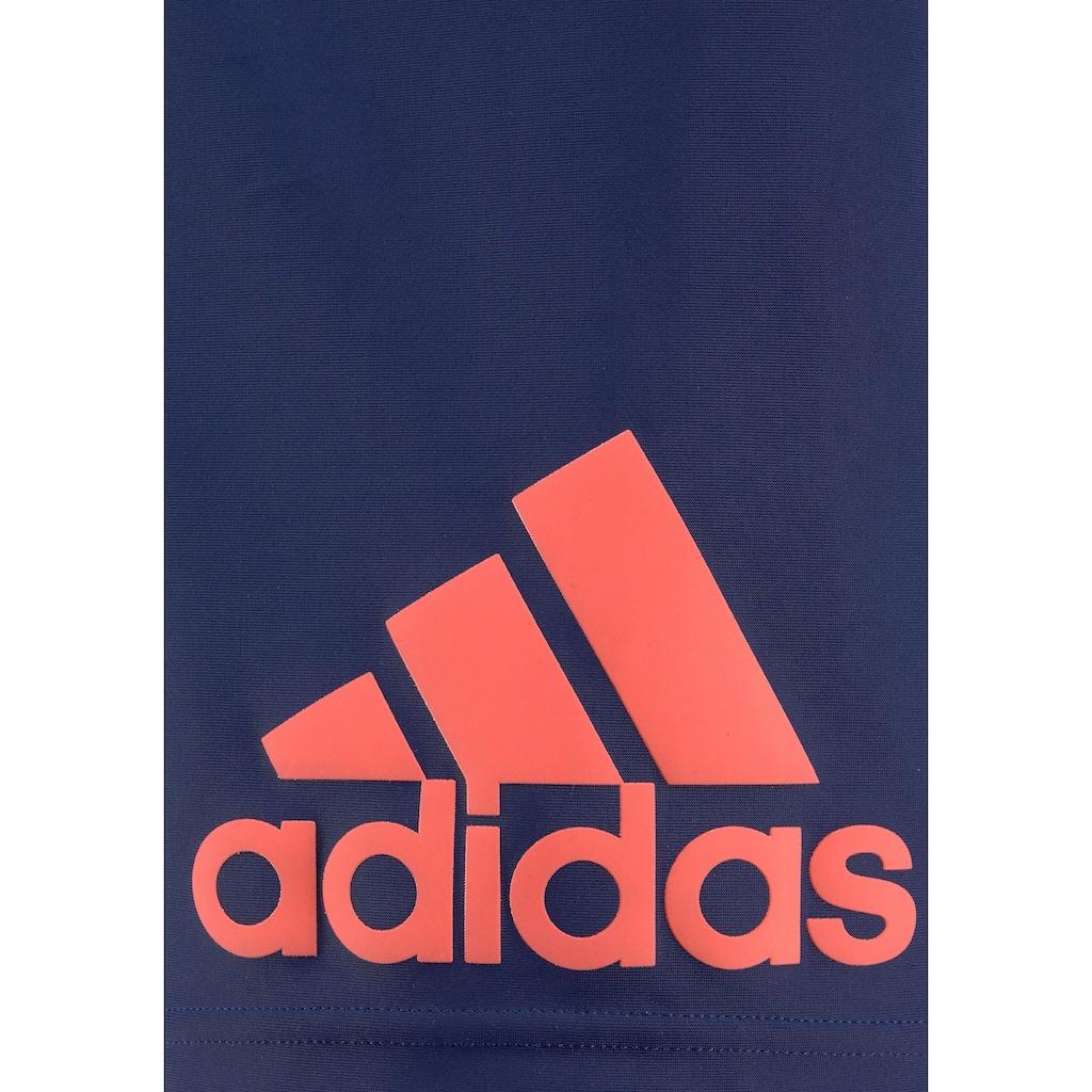 adidas Performance Boxer-Badehose, mit kontrastfarbenem Logoprint