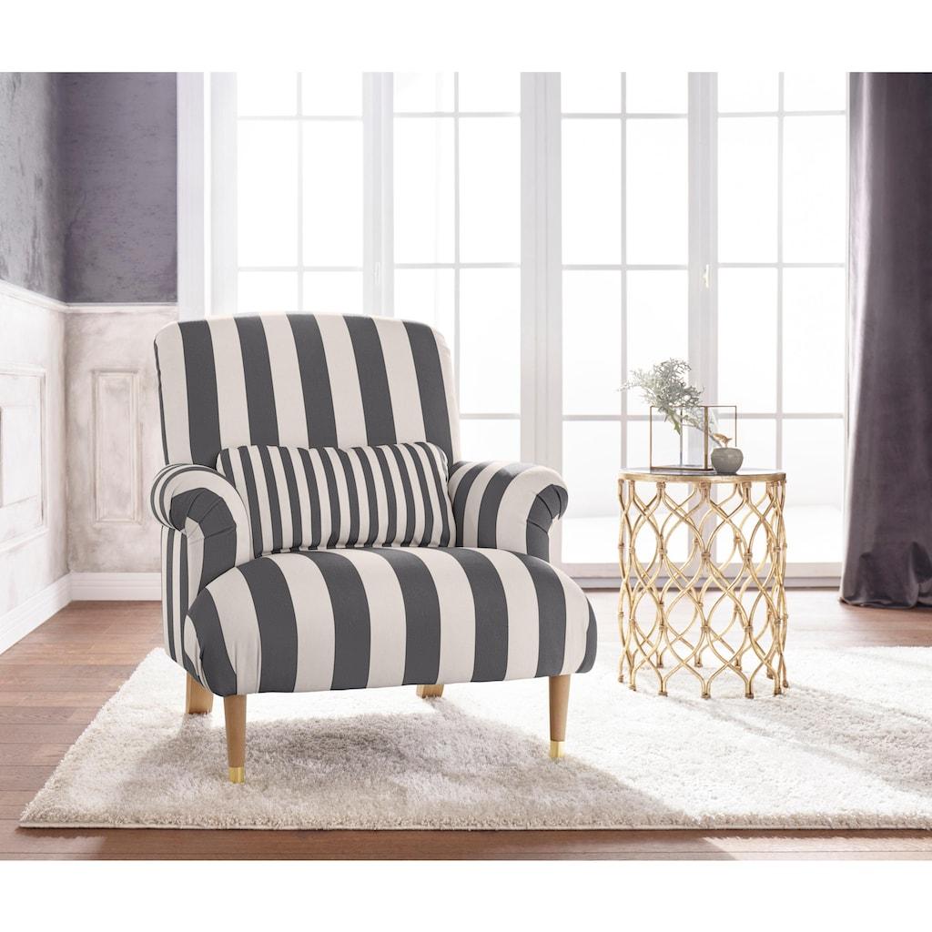 Guido Maria Kretschmer Home&Living XXL-Sessel »Cholet«, mit Zierkissen und Beinen aus Eiche, Bezugsqualität: Baumwollmix, Big