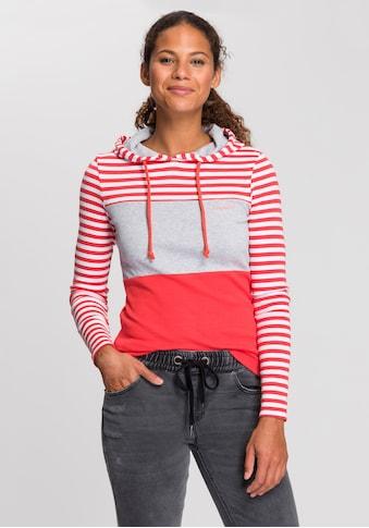 KangaROOS Kapuzenshirt, in verspielter Ringel-Optik mit Colorblocking Design kaufen