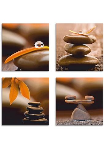 Artland Leinwandbild »Blumenblatt Tropfen Zen Pyramide Waage«, Zen, (4 St.) kaufen