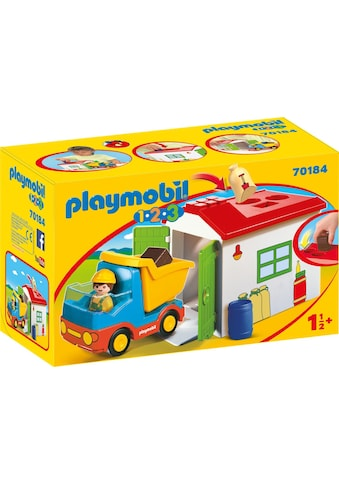 Playmobil® Konstruktions-Spielset »LKW mit Sortiergarage (70184), Playmobil 1-2-3«, Made in Europe kaufen