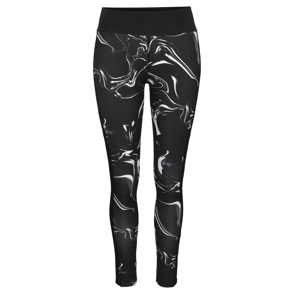 LASCANA ACTIVE Leggings »Black Marble«, mit Mesh