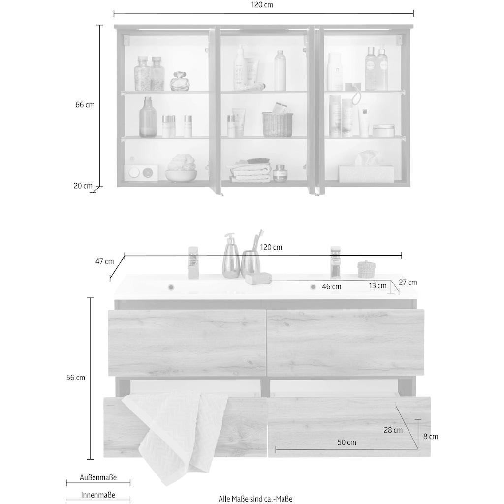 HELD MÖBEL Badmöbel-Set »Lucca«, (2 St.), Doppelwaschtisch, Breite 120 cm