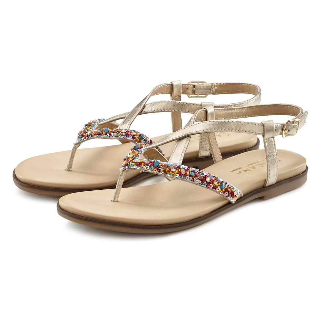 LASCANA Zehentrenner, Sandale aus Leder mit Glitzer
