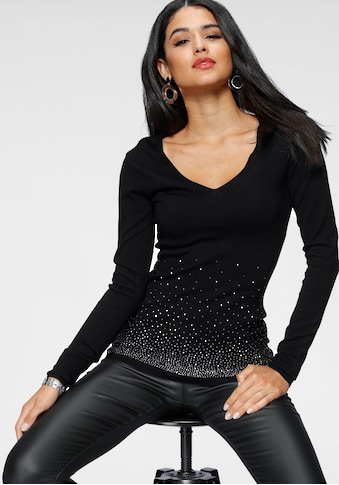 Melrose V-Ausschnitt-Pullover, mit Strassdeko kaufen