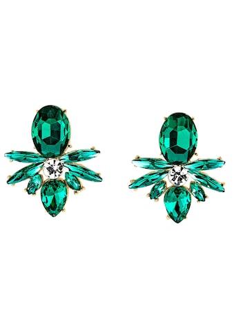 J.Jayz Paar Ohrstecker »smaragdgrün, Navette- und Tropfenschliff, glanzvoll«, mit Glassteinen kaufen