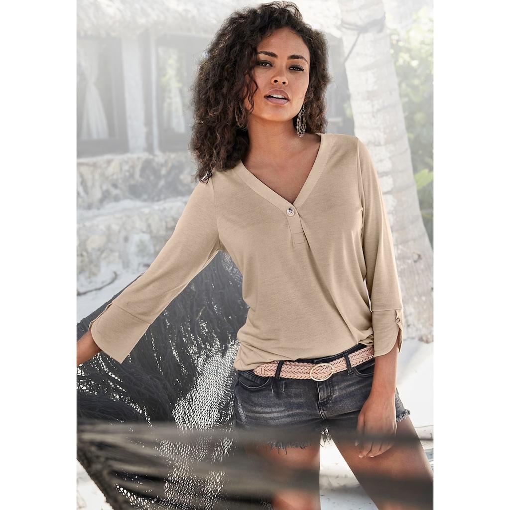 LASCANA 3/4-Arm-Shirt, mit modischen Ärmeldetails
