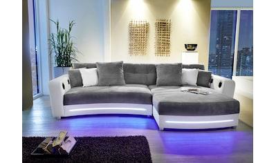 Jockenhöfer Gruppe Ecksofa, inklusive RGB-LED-Beleuchtung und Bluetooth-Soundsystem, Recamiere links oder rechts montierbar, inklusive loser Rücken- und Zierkissen, frei im Raum stellbar kaufen