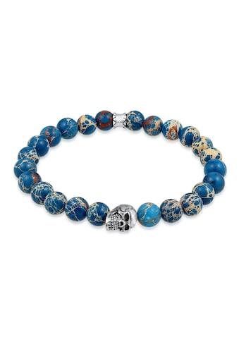 Kuzzoi Armband »Herren Blauer Achat Stein mit Totenkopf Silber« kaufen