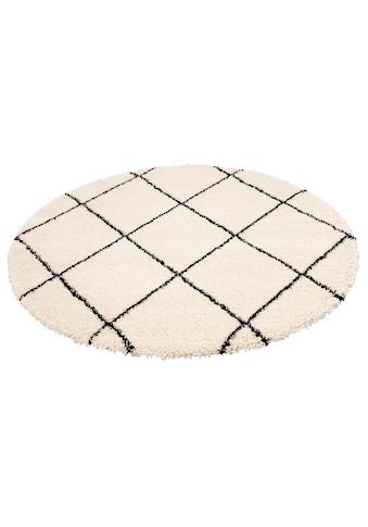 Leonique Hochflor-Teppich »Belle«, rund, 35 mm Höhe, Rauten Design, weiche Haptik, Wohnzimmer kaufen