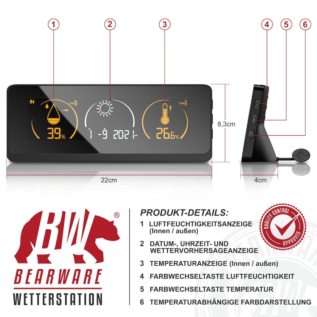 BEARWARE Funkwetterstation »Wetterstation inkl. Transmitter & Netzteil«, (mit Außensensor), mit Farbdisplay