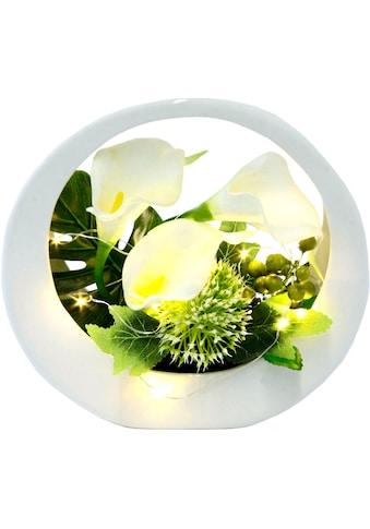 I.GE.A. Kunstblume »Calla«, im Keramiktopf, mit LED-Beleuchtung kaufen