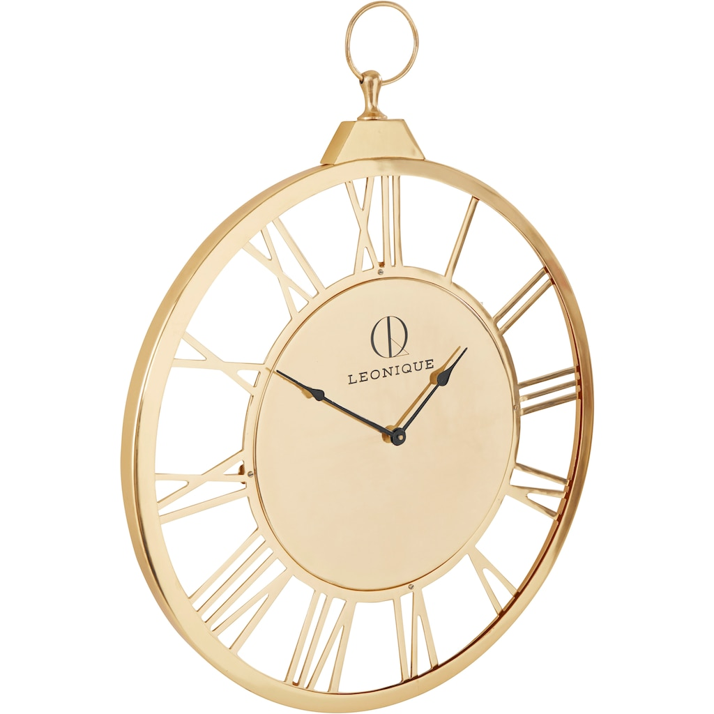 Leonique Wanduhr »Milea«, XXL, goldfarben, rund, Ø 58 cm, aus Metall, römische Ziffern