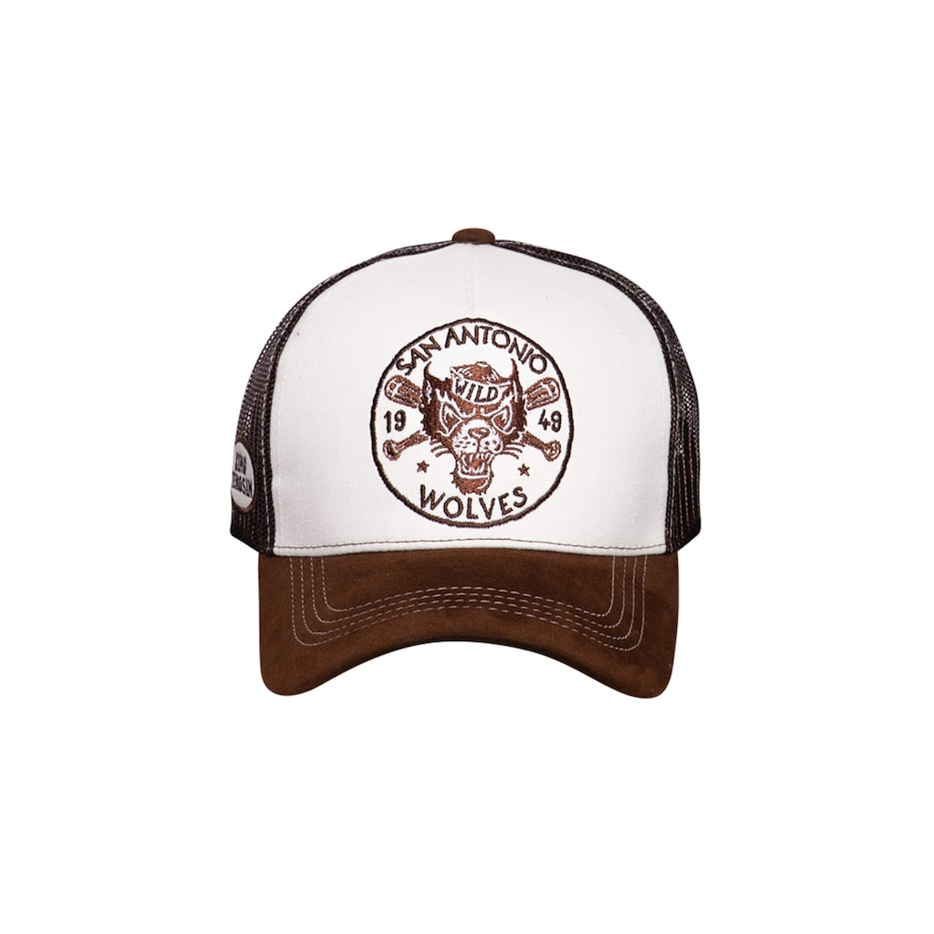 KingKerosin Trucker Cap »San Antonio Wolves«, mit Stickereien und Schirm in Samt-Optik