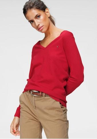 TOMMY HILFIGER V-Ausschnitt-Pullover »HERITAGE V-NECK SWEATER«, mit klassichem... kaufen