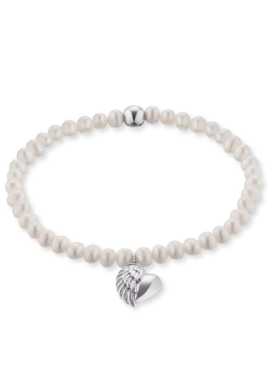 Engelsrufer Perlenarmband HERZFLÜGEL CHARM ERB-HEARTWING-PE | Schmuck > Armbänder > Perlenarmbänder | Weiß | Engelsrufer