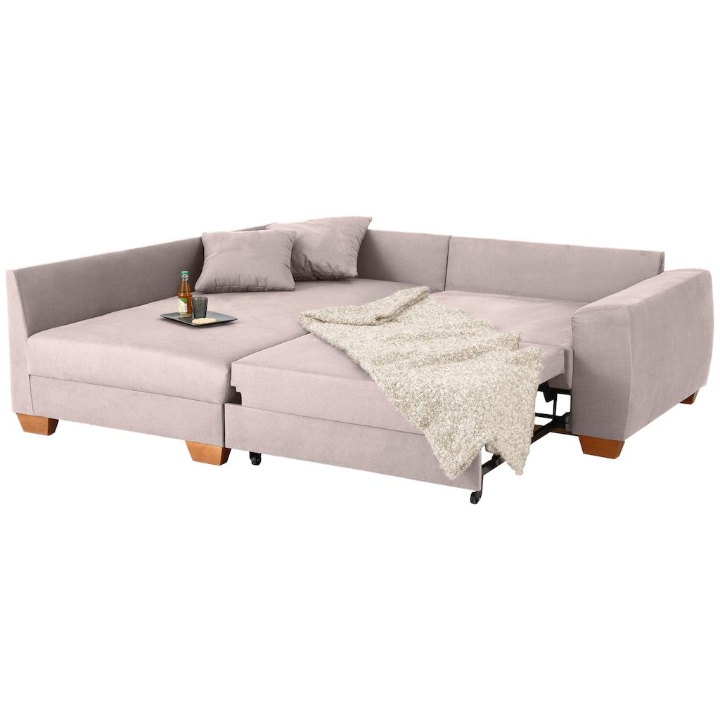 Home affaire Ecksofa »Helena Luxus«, mit besonders hochwertiger Polsterung für bis zu 140 kg pro Sitzfläche, incl. 2 Nierenkissen und 3 Zierkissen