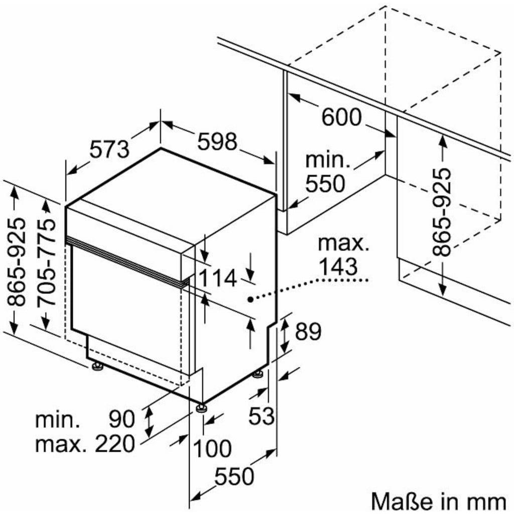 Constructa teilintegrierbarer Geschirrspüler »CG5B51J5«, CG5B51J5, 12 Maßgedecke