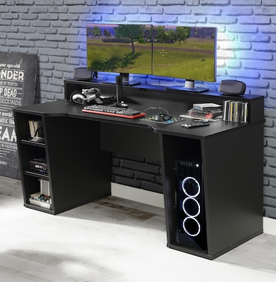 schwarzer Gaming-Schreibtisch