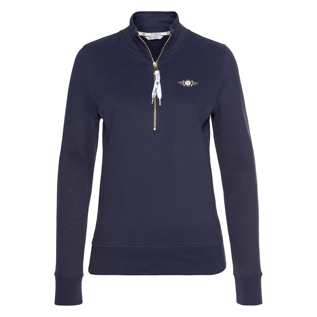TOM TAILOR Polo Team Sweatshirt, mit Logo-Tape am Reißverschluss