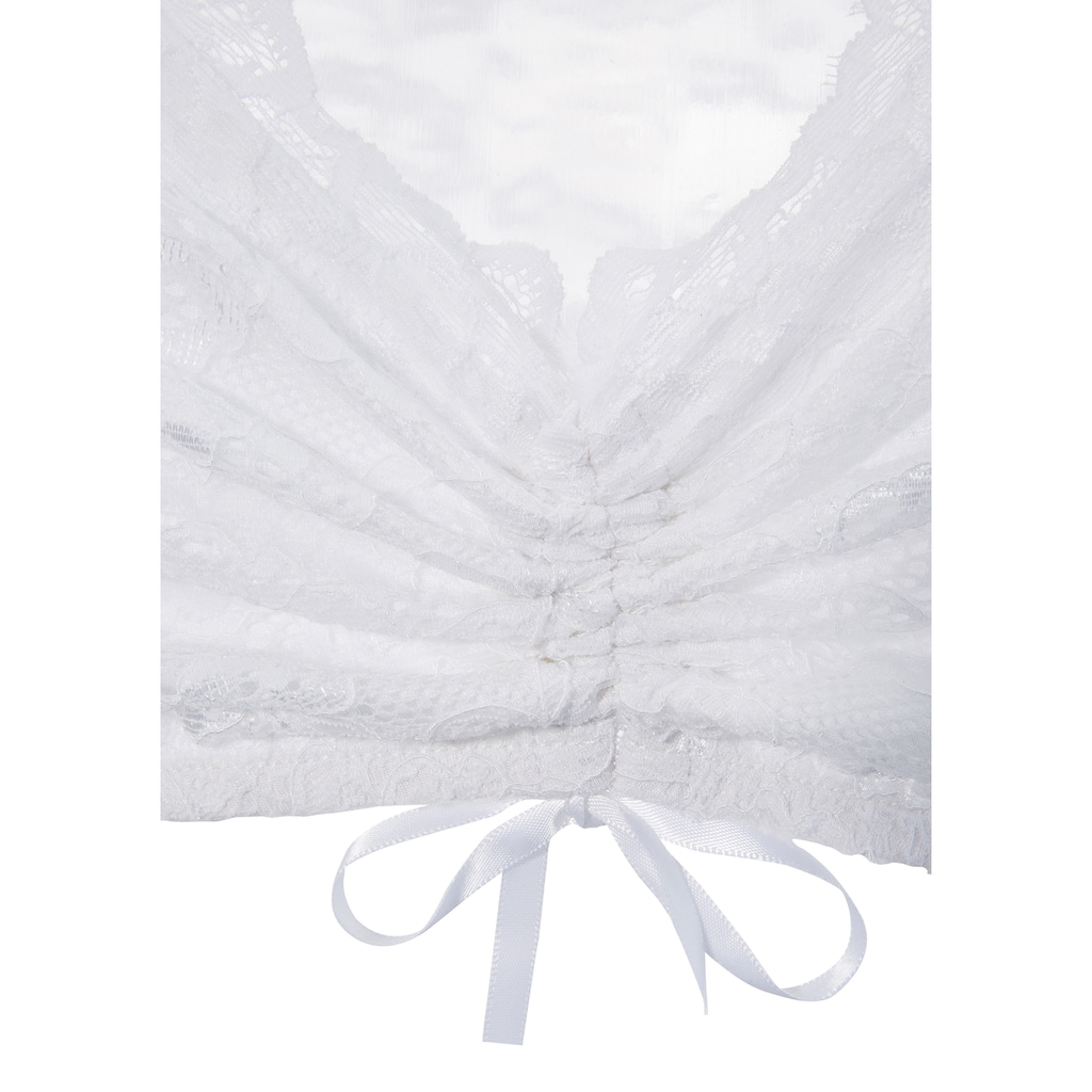 Andreas Gabalier Kollektion Dirndlbluse, Damen aus elastischer, floraler Spitze, mit gefüttertem Vorderteil