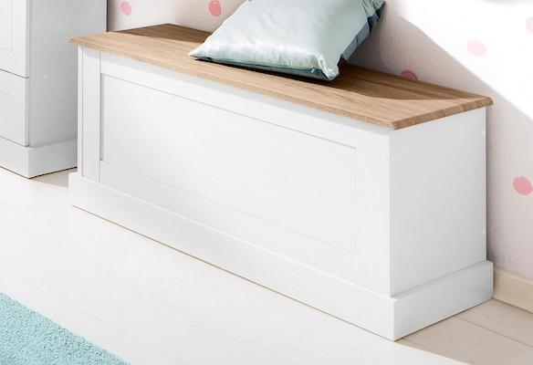 Truhenbank aus Holz in Weiß