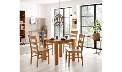 Home affaire Essgruppe »Nils 4« (Set, 5 - tlg Tisch 80 x 80, 2 Stühle, Holzsitz) kaufen