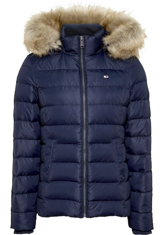 Tommy Jeans Daunenjacke »TJW BASIC HOODED DOWN JACKET«, mit Fellimitat an der Kapuze & Tommy Jeans Logo-Flag kaufen