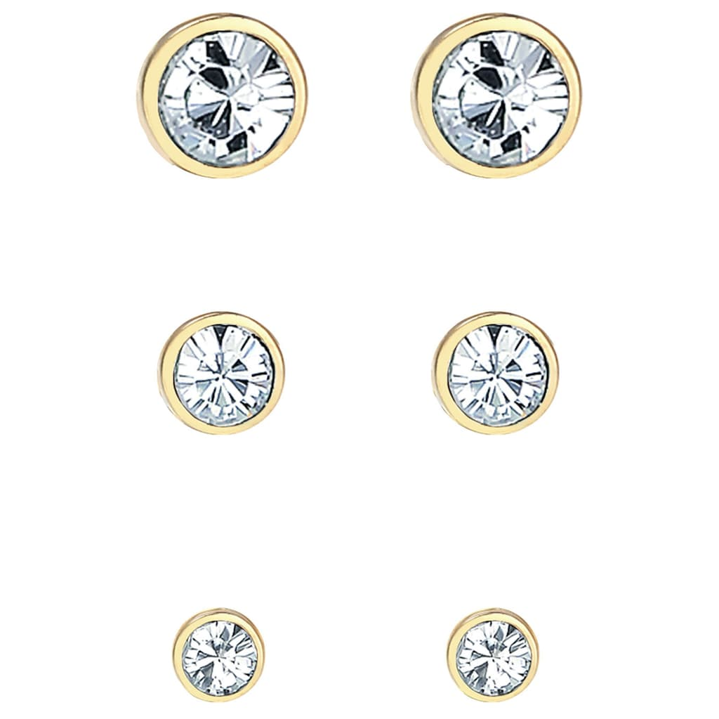 Elli Ohrstecker-Set »Ohrringe Stecker, 0301590620«, (Set, 6 tlg.), mit Kristallen