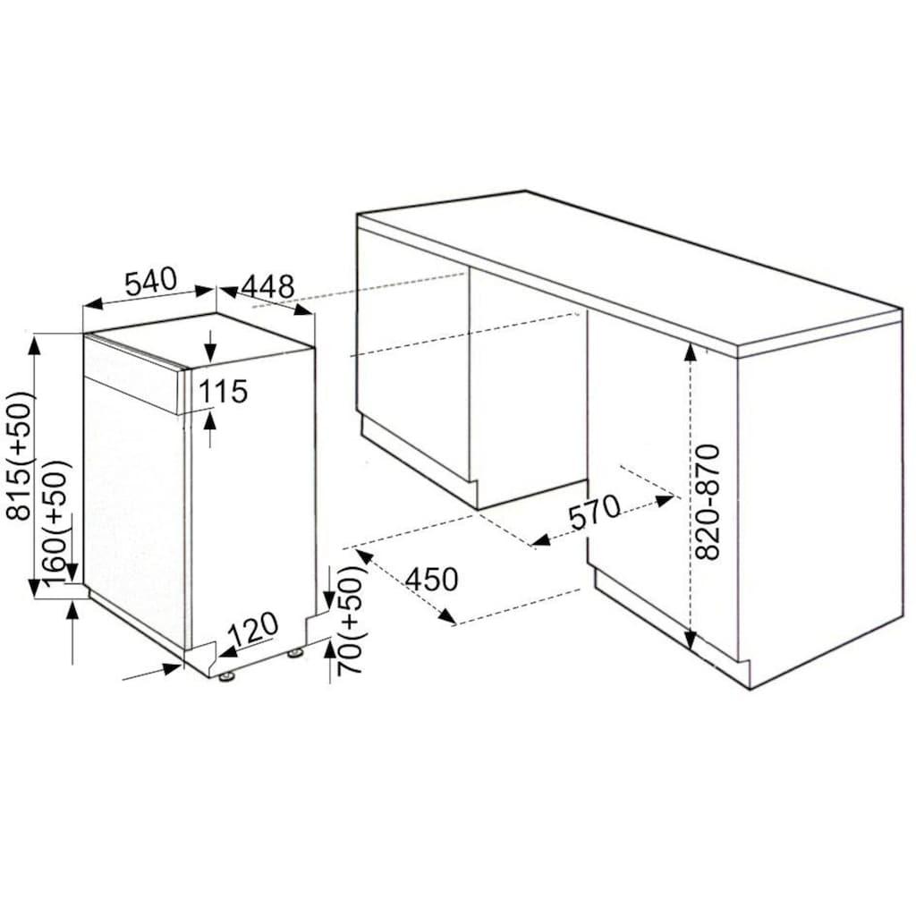 vonReiter integrierbarer Geschirrspüler »VREGSP 45110 Inox«, VREGSP 45110 Inox, 9 l, 10 Maßgedecke