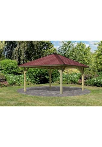 Karibu Pavillon »Holm 1«, BxT: 431x431 cm, inkl. Dachhaube, Dachschindeln und Pfostenanker kaufen