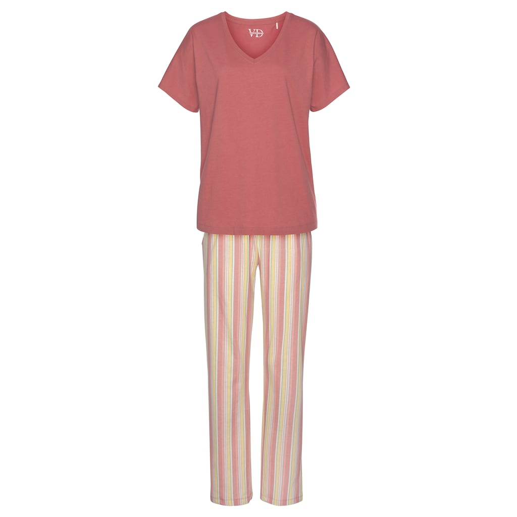 Vivance Dreams Pyjama, in legerem Schnitt mit Längsstreifen