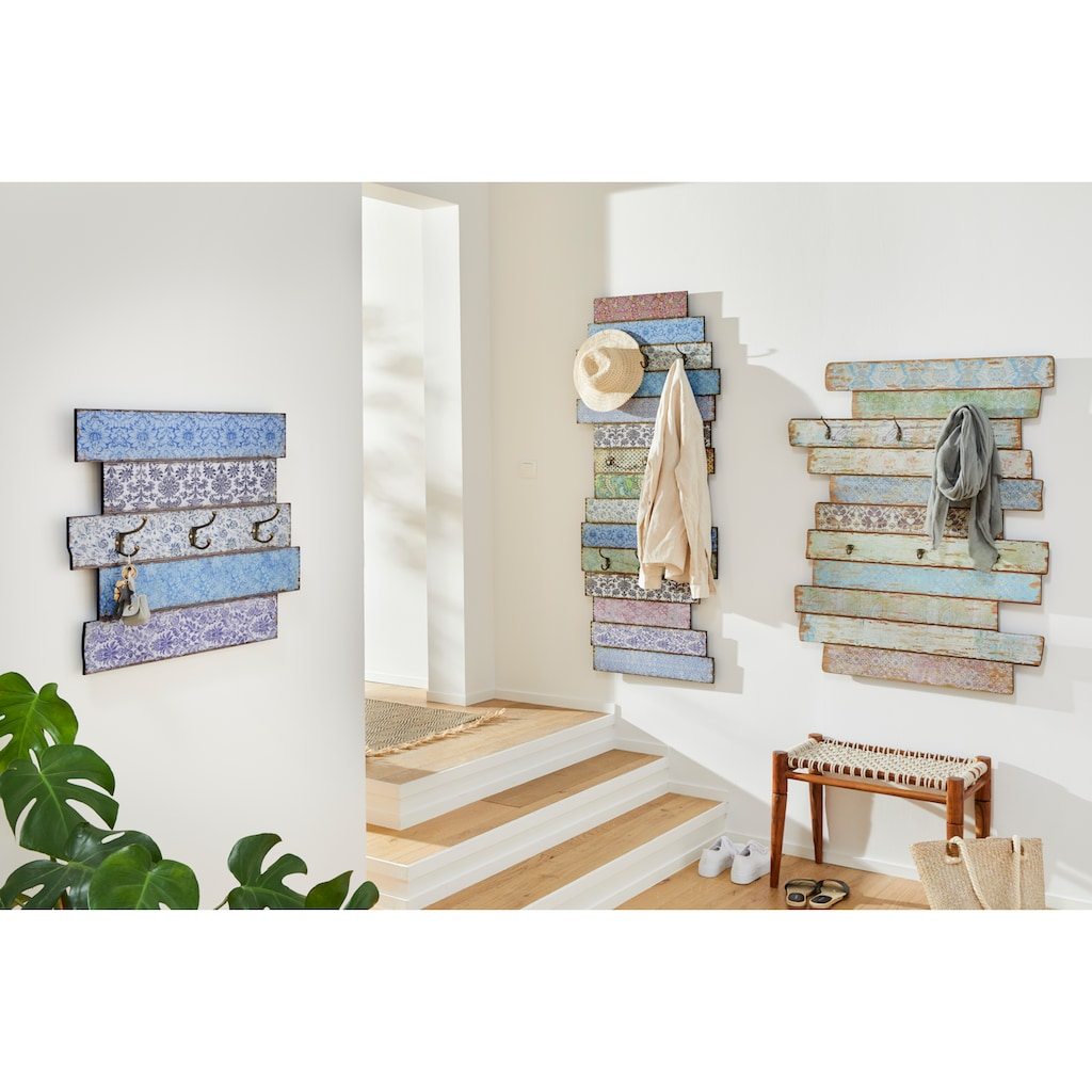 Home affaire Garderobenpaneel »Emma«, Garderobe mit 6 Kleiderhaken, Pastell-Farben, Shabby Look