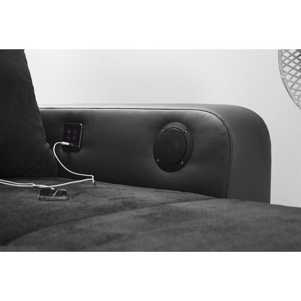 Jockenhöfer Gruppe Ecksofa, inklusive RGB-LED-Beleuchtung und Bluetooth-Soundsystem, Recamiere links oder rechts montierbar, inklusive loser Rücken- und Zierkissen, frei im Raum stellbar