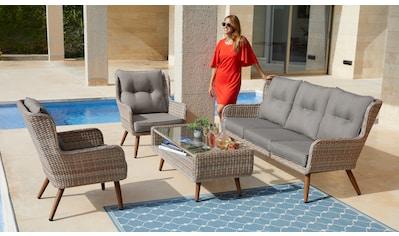 KONIFERA Loungeset »Malibu«, (14 tlg.), 3er Sofa, 2 Sessel, Tisch, Polyrattan kaufen