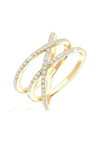 Elli Fingerring »Verschlungen mit Swarovski Kristalle 925 Silber« kaufen