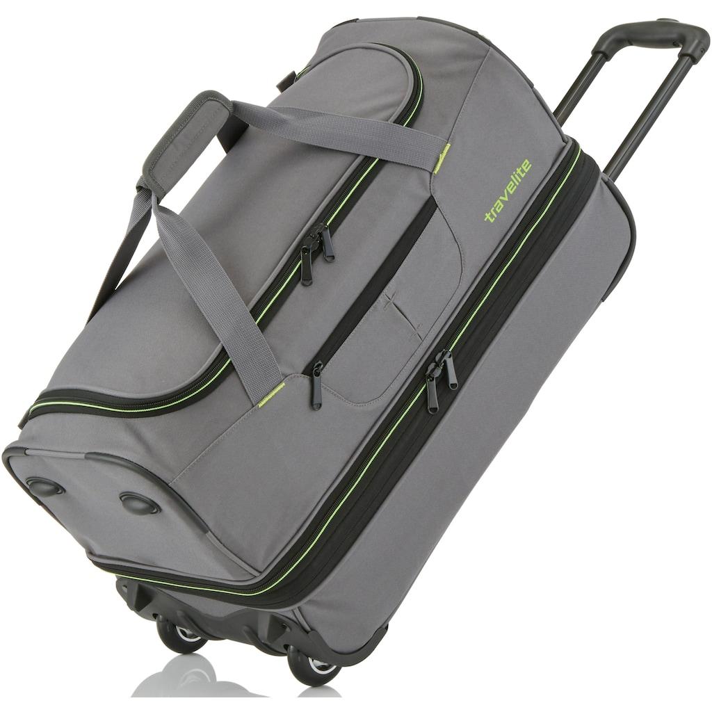 travelite Reisetasche »Basics, 55 cm, grau/grün«, mit Volumenerweiterung