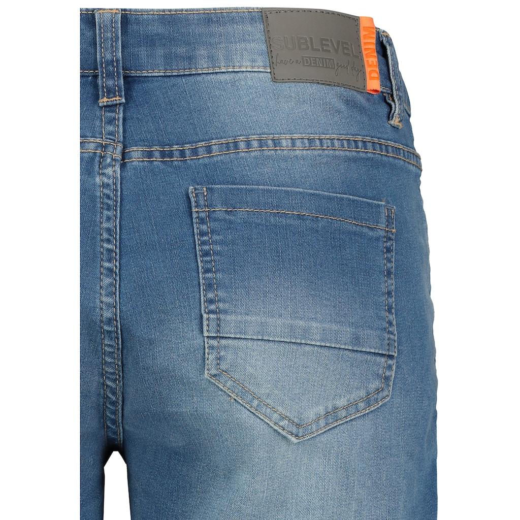 SUBLEVEL Jeansbermudas, im Used-Look