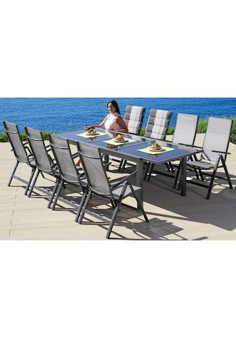 MERXX Gartenmöbelset »Amalfi«, 9 - tlg., 8 Klappsessel, Tisch 100x180 - 240 cm, Alu/Textil kaufen